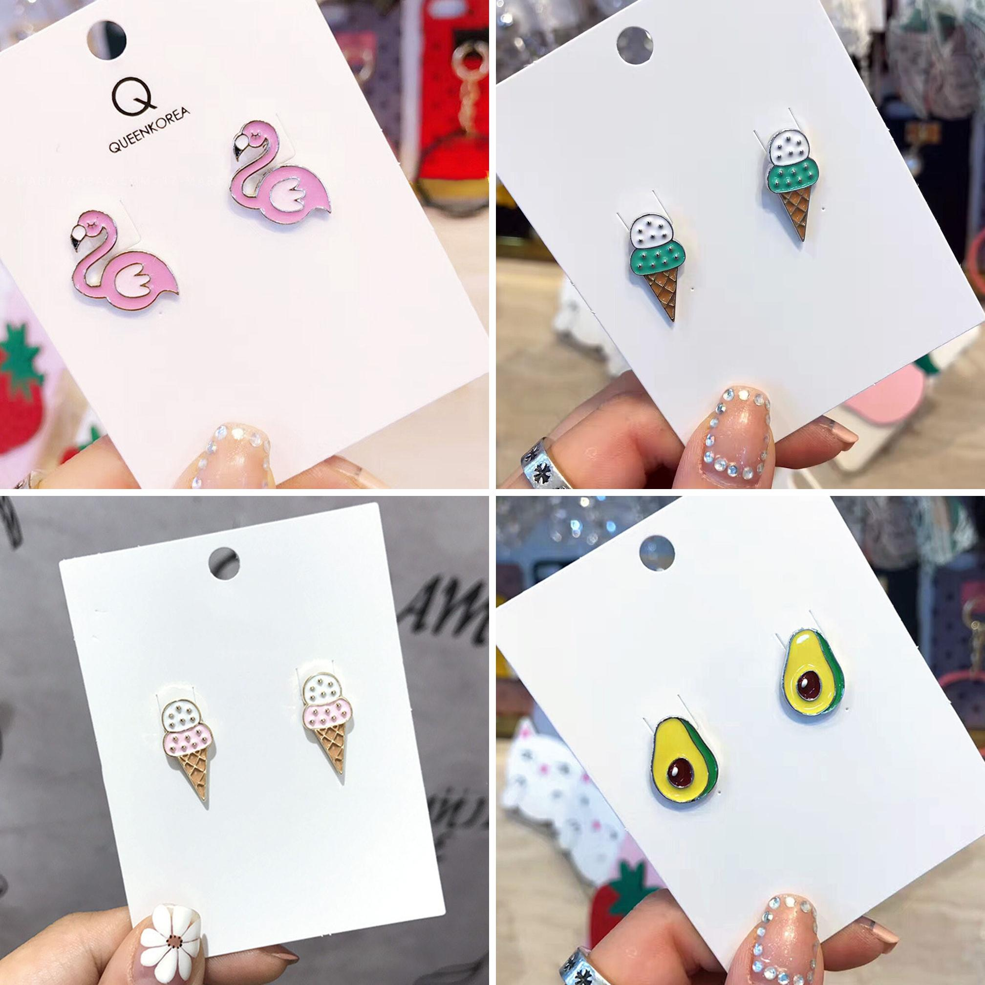 Cute Alloy Flamingo Avocado Ice Cream Stud Earrings Women Party Club Jewelry